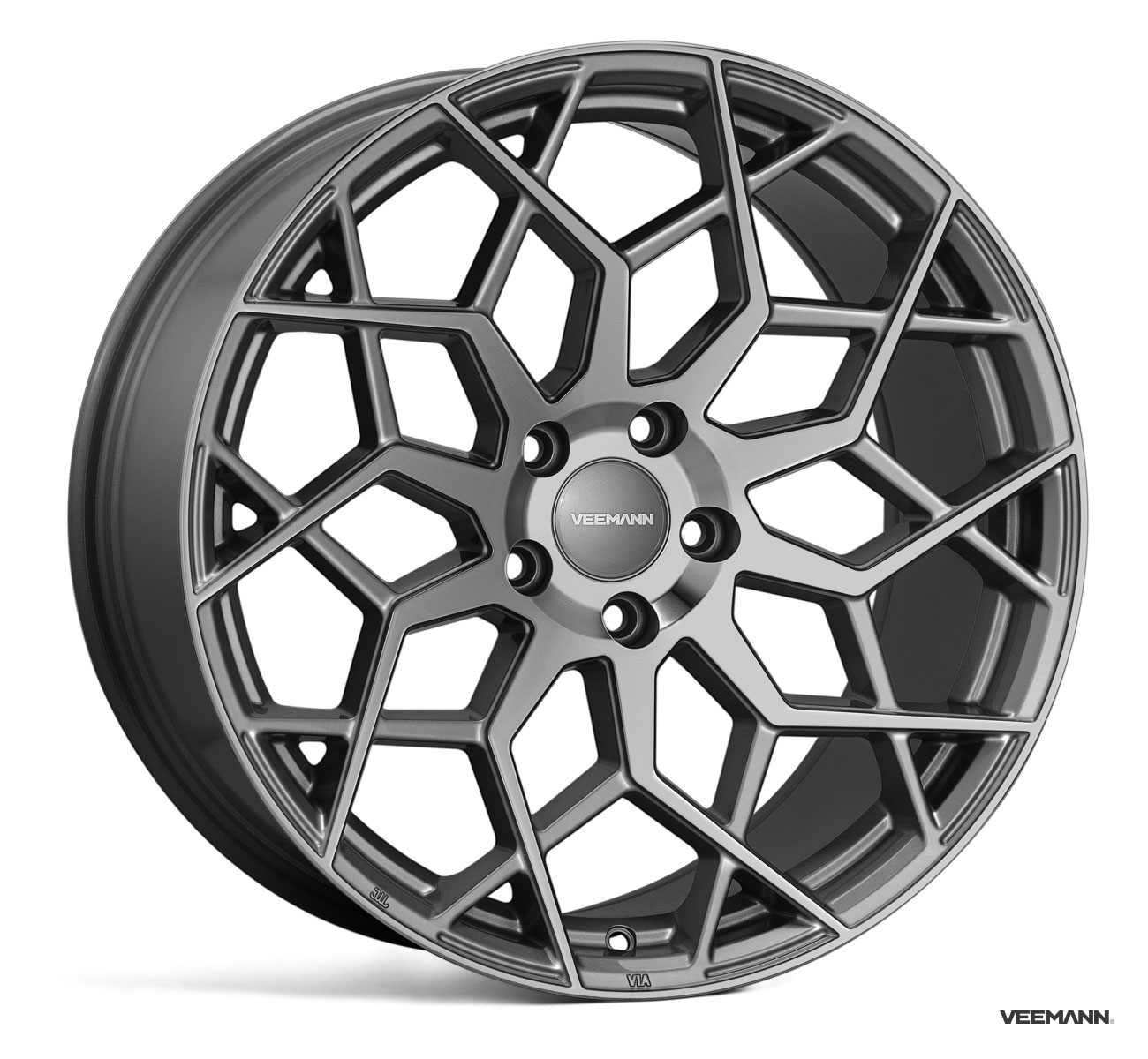 "NEW 19"" VEEMANN V-FS42 ALLOY WHEELS IN GLOSS GRAPHITE WITH WIDER 9.5"" REARS"